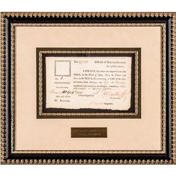 1802 Port of Providence Document Signed by William Barton + John S. Dexter, Sup.