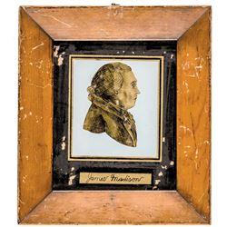 Vintage Presidents JOHN ADAMS + JAMES MADISON Reverse Paintings on Glass in Gilt