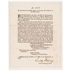 1797 TIMOTHY PICKERING Signed ACT of Congress by President John Adams + Jefferson