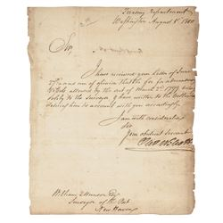 1800 OLIVER WOLCOTT Secretary of the Treasury Autograph Letter Signed