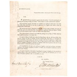 1793 OLIVER WOLCOTT, JR. Printed Document Signed as United States Comptroller