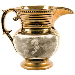 General Jackson The Hero of New Orleans, Rarest Small Size Lusterware Pitcher