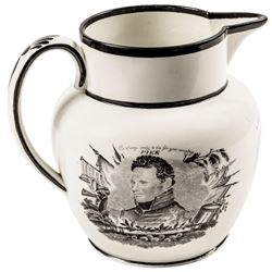 c1815 War of 1812 Historic Staffordshire Pitcher Pike + Macedonian Captain Jones