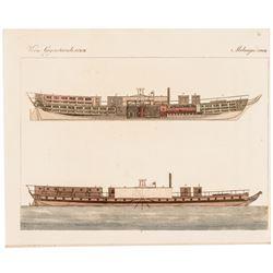 c. 1820 Historic American Steam Boat Chancellor Livingston Hand-Colored Print