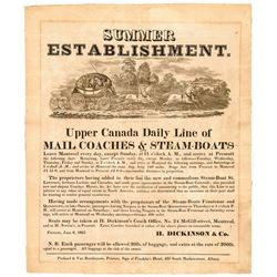 1825 Decorative Printed Mail Coaches + Steam-Boats Advertising Broadside