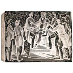 c. 1840 AMISTAD Woodblock Printing Plate Illustrating The Suffolk Board of Trade