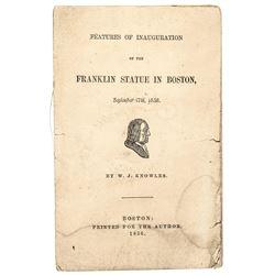 1856 Printed Poem Commemorating Benjamin Franklins Statue in Boston