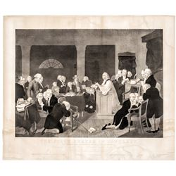 1848 Engraving: The First Prayer in Congress Sept 1774 in Carpenters Hall Phila.