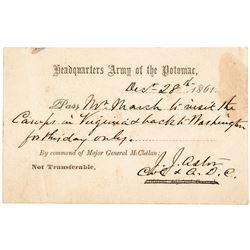 1861 Civil War JOHN JACOB ASTOR Signed Union Army Military Pass Rarity
