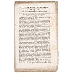 1863 Speech by Charles Sumner: Presidential Civil War Powers Bill + War Measures