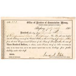 1863 Draftee Paid $300 Commutation Money Civil War Certificate + CDVs Identified
