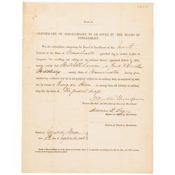 1863 Union Draft Exemption Certificate for reason as being an Alien