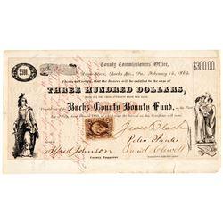 RARE 1865 Civil War Bucks County Pennsylvania Enlistment Bounty Fund 6% Bond