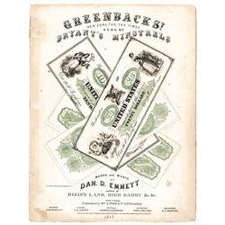 1863 Civil War Printed Sheet Music Titled GREENBACKS! by Dan D. Emmett