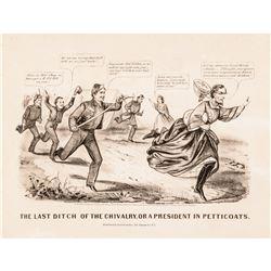 1865 Civil War Political Cartoon by Currier + Ives CSA President Jefferson Davis