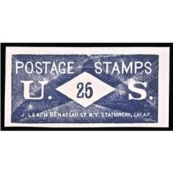 U.S. Postage Stamp Envelope, 25¢, J. LEACH, Face Panel Only. Near Uncirculated.