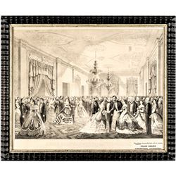Frank Leslie Print of 1865 White House Reception, Abraham Lincoln + many others