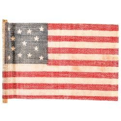 c. 1876 United States Centennial 13-Star Parade Flag With Hand-Pole Choice EF