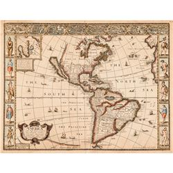 1626 JOHN SPEED Map Titled America with those known Parts in that unknown Worlde