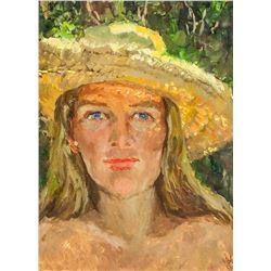 Artist Signed KPM Russian Oil on Paper Portrait