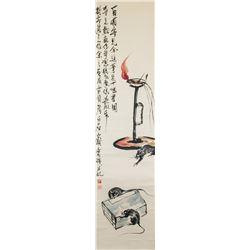 Qi Baishi 1864-1957 Chinese Watercolor Still Life