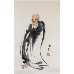 Pu Lisheng Chinese Modern Watercolor Lohan Roll