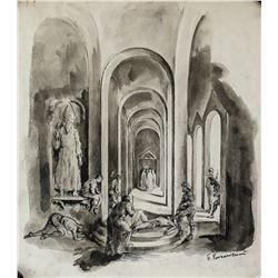Pyotr Konchalovsky Russian Fauvist Ink on Paper