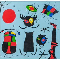 Joan Miro Spanish Surrealist Oil on Canvas