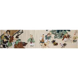 Xu Lele b.1955 Chinese Watercolor Cockfight Scene