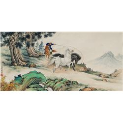 Ma Jin 1900-1970 Chinese Watercolor Paper Scroll