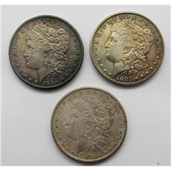 3-MORGAN SILVER DOLLARS 1901-O, '02-O, & '04-O