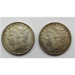 2- 1899-O MORGAN SILVER DOLLARS AU/BU