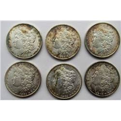 6- 1904-O MORGAN SILVER DOLLARS