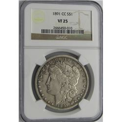 1891 CC MORGAN SILVER DOLLAR NGC VF25