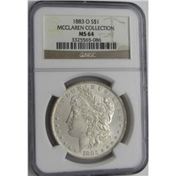 1883-O MORGAN SILVER DOLLARS NGC MS 64