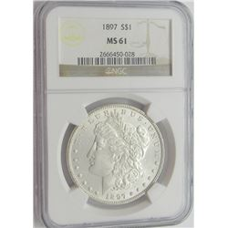 1897 MORGAN SILVER DOLLAR NGC MS 61