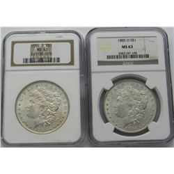 1884-O & 1885-O MORGAN SILVER DOLLARS NGC MS 63