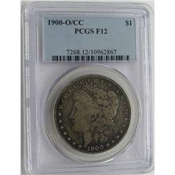 1900-O/CC MORGAN SILVER DOLLAR PCGS F12