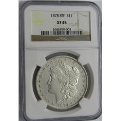 1878 8TF MORGAN SILVER DOLLAR NGC XF 45