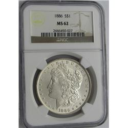 1886 MORGAN SILVER DOLLAR NGC MS 62