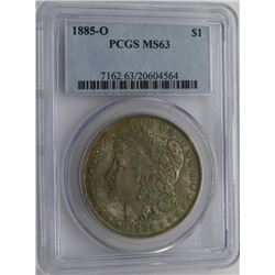 1885-O MORGAN SILVER DOLLAR PCGS MS 63