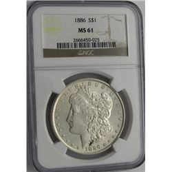 1886 MORGAN SILVER DOLLAR NGC MS 61