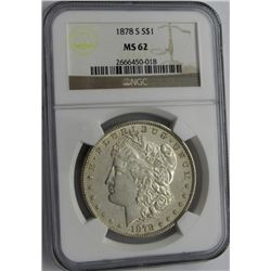 1878-S MORGAN SILVER DOLLAR NGC MS 62