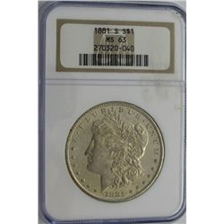 1881-S MORGAN SILVER DOLLAR NGC MS 63