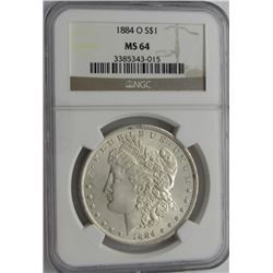 1884-O MORGAN SILVER DOLLAR NGC MS 64