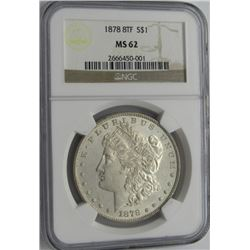 1878 8TF MORGAN SILVER DOLLAR NGC MS 62