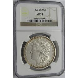 1878 CC MORGAN SILVER DOLLAR AU 53