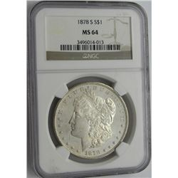 1878-S MORGAN SILVER DOLLAR NGC MS 64