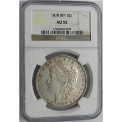 1878 8TF MORGAN SILVER DOLLAR NGC AU 55
