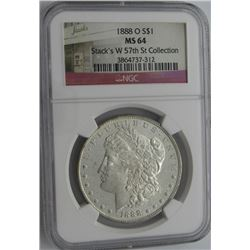 1888-O MORGAN SILVER DOLLAR NGC MS 64
